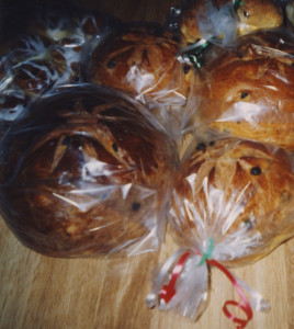 Panettone with holiday ribbon ties.
