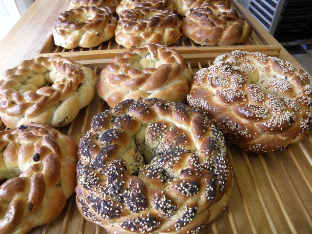 Circle and raisin circle challah.